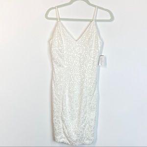 Windsor Ivory Lace Bodycon Dress V Neck Size Med